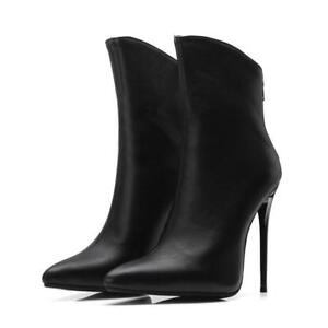 High-Stiletto-Heels-Womens-Ankle-Boots-Metallic-Pointy-Toe-Zipper-Chic-Shoes-New