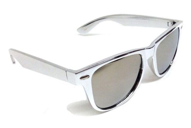 22e7df5ecd SILVER PLATINUM METALLIC SQUARE SUNGLASSES MIRROR LENSES RETRO CLASSIC VTG  80s