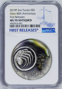 2019 Alien 40th Anniversary 2019 2oz Silver Antiqued Colored Coin NGC MS70 FR