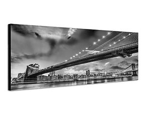 150x50cm panoramabild schwarz weiss brooklyn manhattan bridge new york abend ebay. Black Bedroom Furniture Sets. Home Design Ideas
