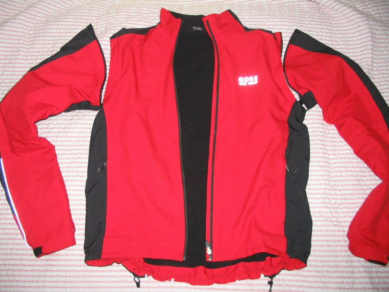 Gore bicicletta wear Jacket zip off Vest Fleece Windstop mtb strada ciclismo rosso L gree