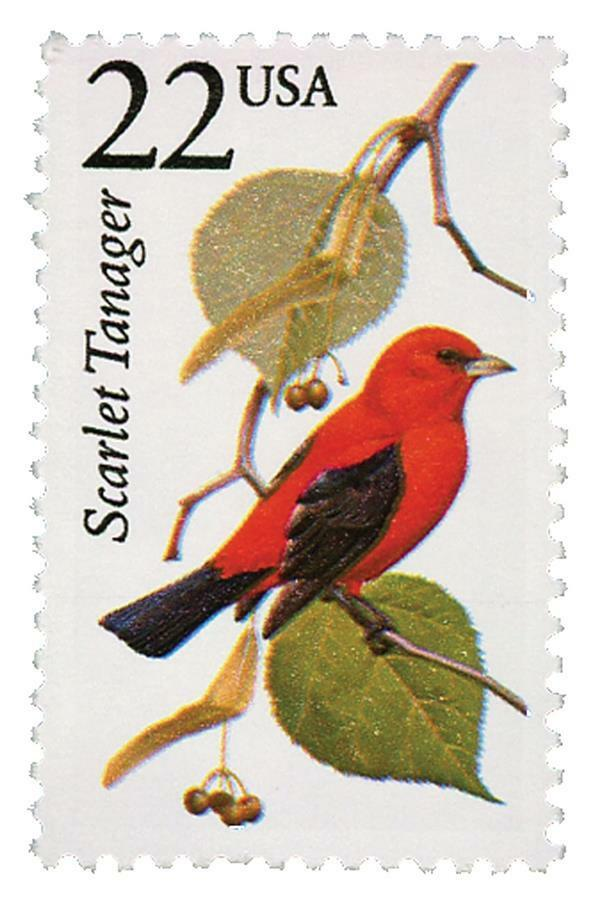 1987 22c Scarlet Tanager, North American Wildlife Scott