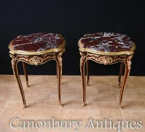 Image Is Loading Pair Kingwood French Side Tables Tail Table Empire