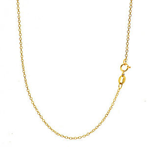 18K-Gold-Over-925-Sterling-Silver-1mm-Italian-Cable-Chain-Necklace-ALL-SIZES