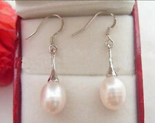 Real Natural White Cultured Pearl Dangle Drop Earring Silver Hook AAA
