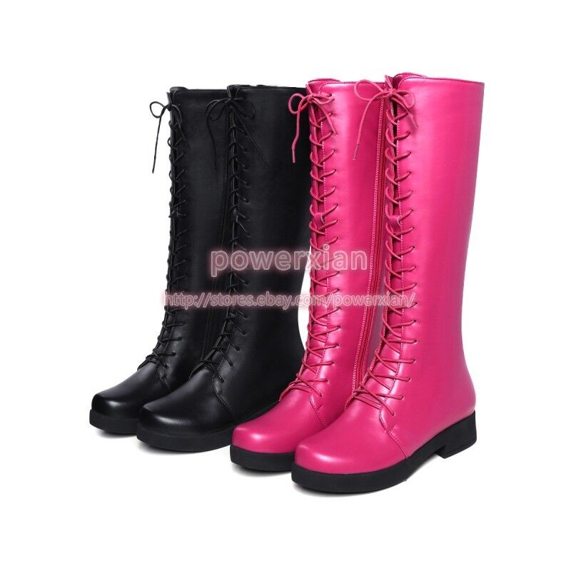 Womens Lace Up Punk Chic Fashion New Winter Hot Knee High Boots Shoes Sz 5-8