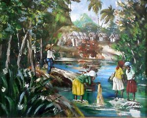 L-Isaac-Ol-auf-Leinwand-Haiti-oder-Afrika-am-Fluss