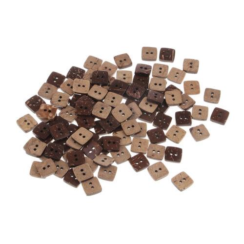 Bottoni in legno di noce di cocco con forma quadrata 100pcs 2 fori per