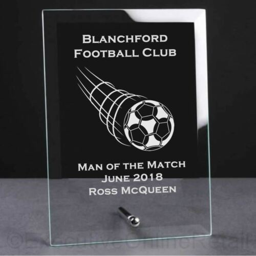 Engraved Football Swish Glass Plaque Trophy Award Personalised Football Trophies