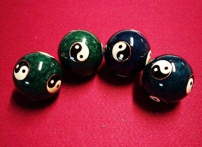 2 X Qigong Klang Kugeln Yin-yang Blau /grün 40mm Neueste Technik