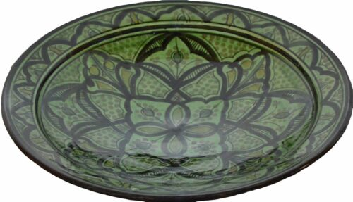 Moroccan Spanish Serving Platter Rice Salad Pasta Bowl Green 14 In Extra Large