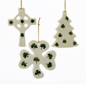 Irish Christmas.Details About Kurt Adler 3 Porcelain Irish Christmas Ornaments Set Of 3 Cross Shamrock Tree