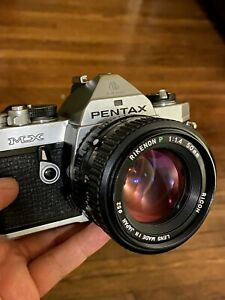 Pentax MX SLR 35mm Film Camera w/ Ricoh 50mm f/1.4. Lens