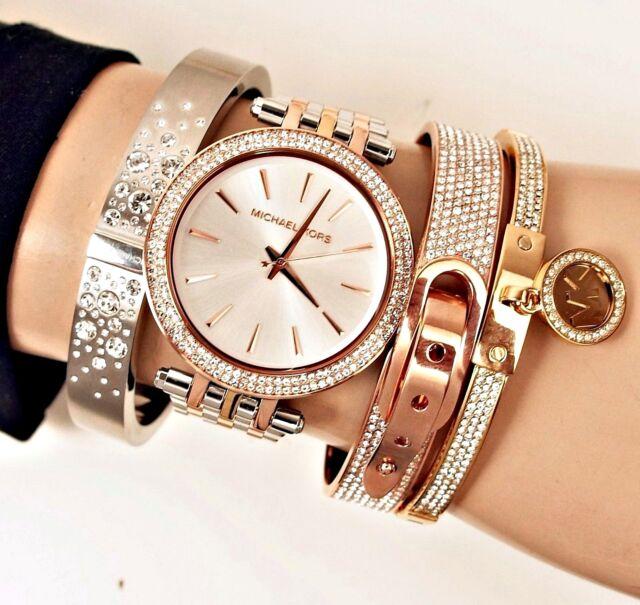 Michael Kors Uhr Damenuhr MK3203 Darci Tricolor Frabe:Rose Gold/Silber/Gold NEU