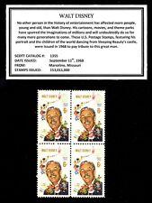 1968 - WALT DISNEY -  Block of Four Vintage Mint U.S. Postage Stamps