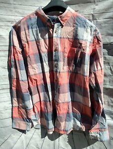 Ocean-Current-Mens-Sz-XL-Long-Sleeve-Button-Up-Plaid-Shirt-Orange-Blue-Gray-Wood