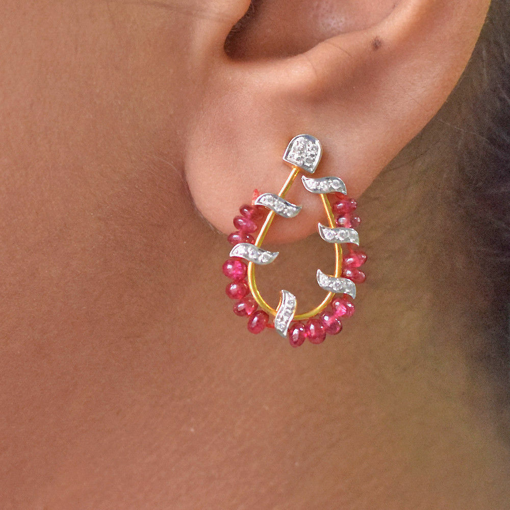 Ruby Gemstone Stud Earrings Natural Diamond Party Wear 18k Yellow gold  Jewelry