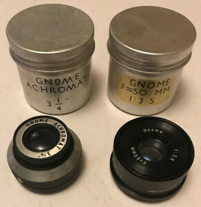 2-x-Vintage-Gnome-Photographic-Enlarger-Lenses-Achromat-3-25-034-50mm-1-3-5-Lens