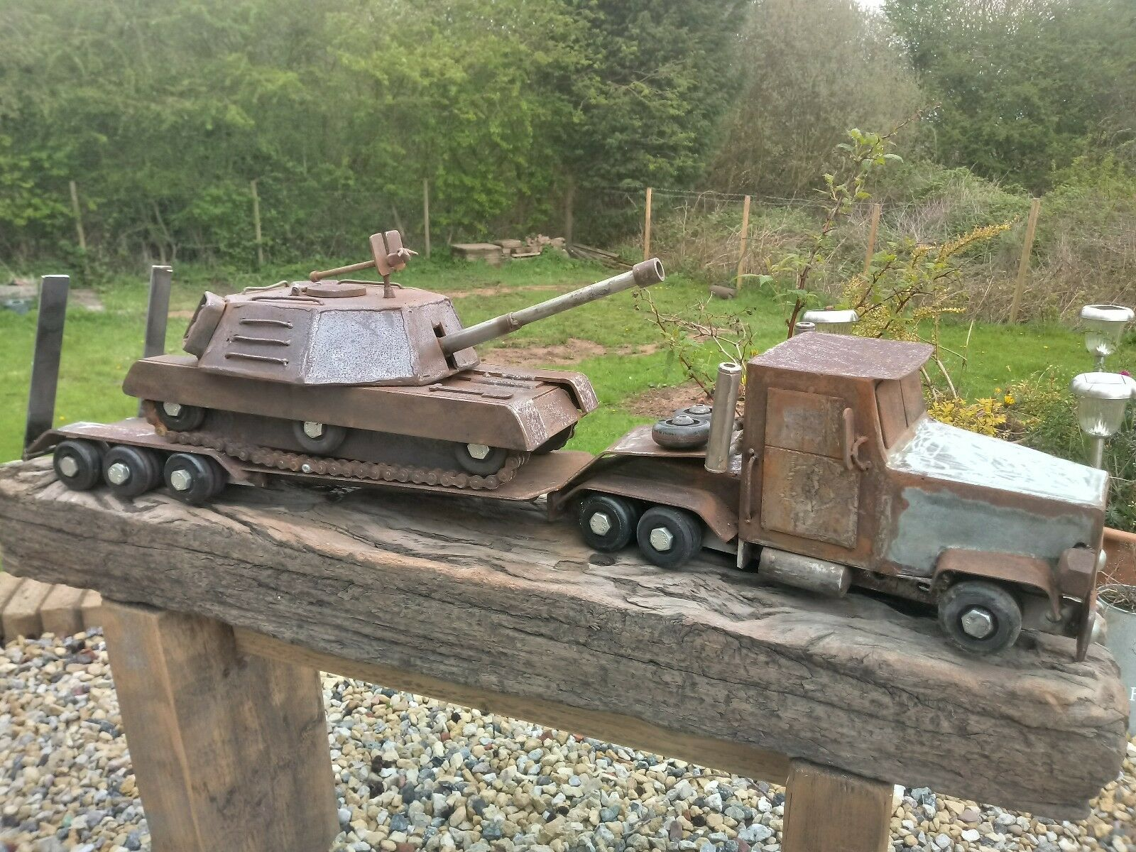 Model lorry tank transporter with tank tank hand made one off