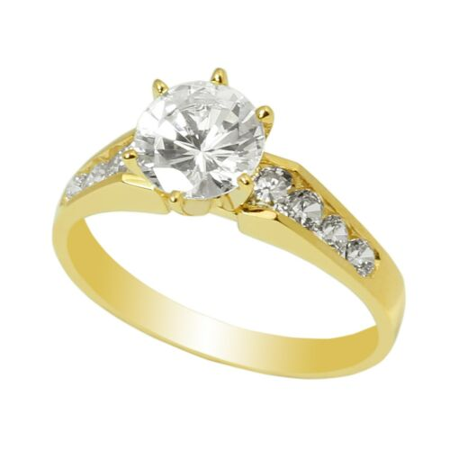 Ladies  14K Yellow Gold Solid  Solitaire Ring with Accents 1.1CT CZ Clear Stone