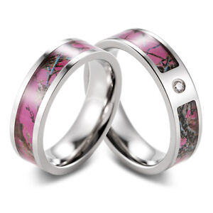 Pink Muddy Girl Camo Ring Set Engagement Wedding Band With Cubic Zirconia Inlay