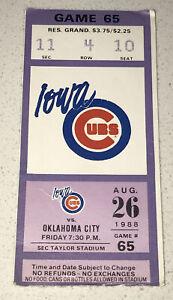 8/26/88 American Association AA MiLB Iowa Cubs OKC 89ers Game Used Ticket Stub
