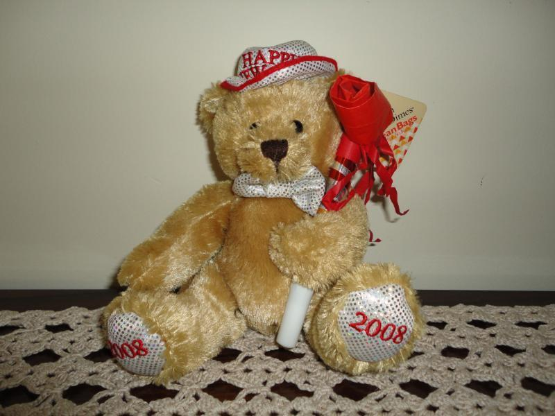 Plushland March of Dimes 2008 Happy Nuovo Year BEAR Handmade