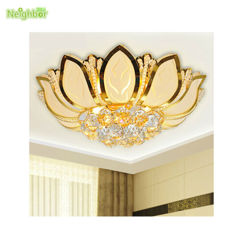 Lotus Flower Ceiling Light With Glass Lampshade Crystal Ball Gold Bedroom Lamp