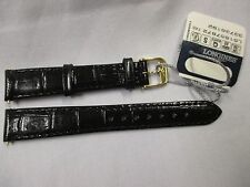 Longines 15mm x 12mm Black Leather Watch Strap Band + GoldTone Buckle & Lug Pins