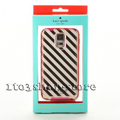 Kate Spade Hard Cover Case for Samsung Galaxy S5 Diagonal Stripe Gold/Cream/Pink