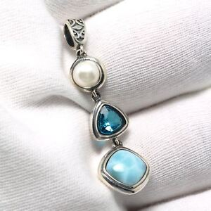 925-Sterling-Silver-Topaz-Natural-Dominican-Larimar-Gemstones-Necklace-Pendant