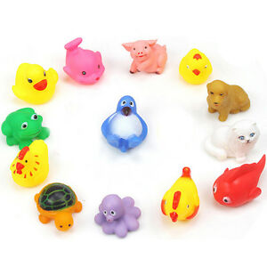 13X Baby Bath Toys Squeaky Rubber Animal Floating Water Kids Funny Toy Tool..