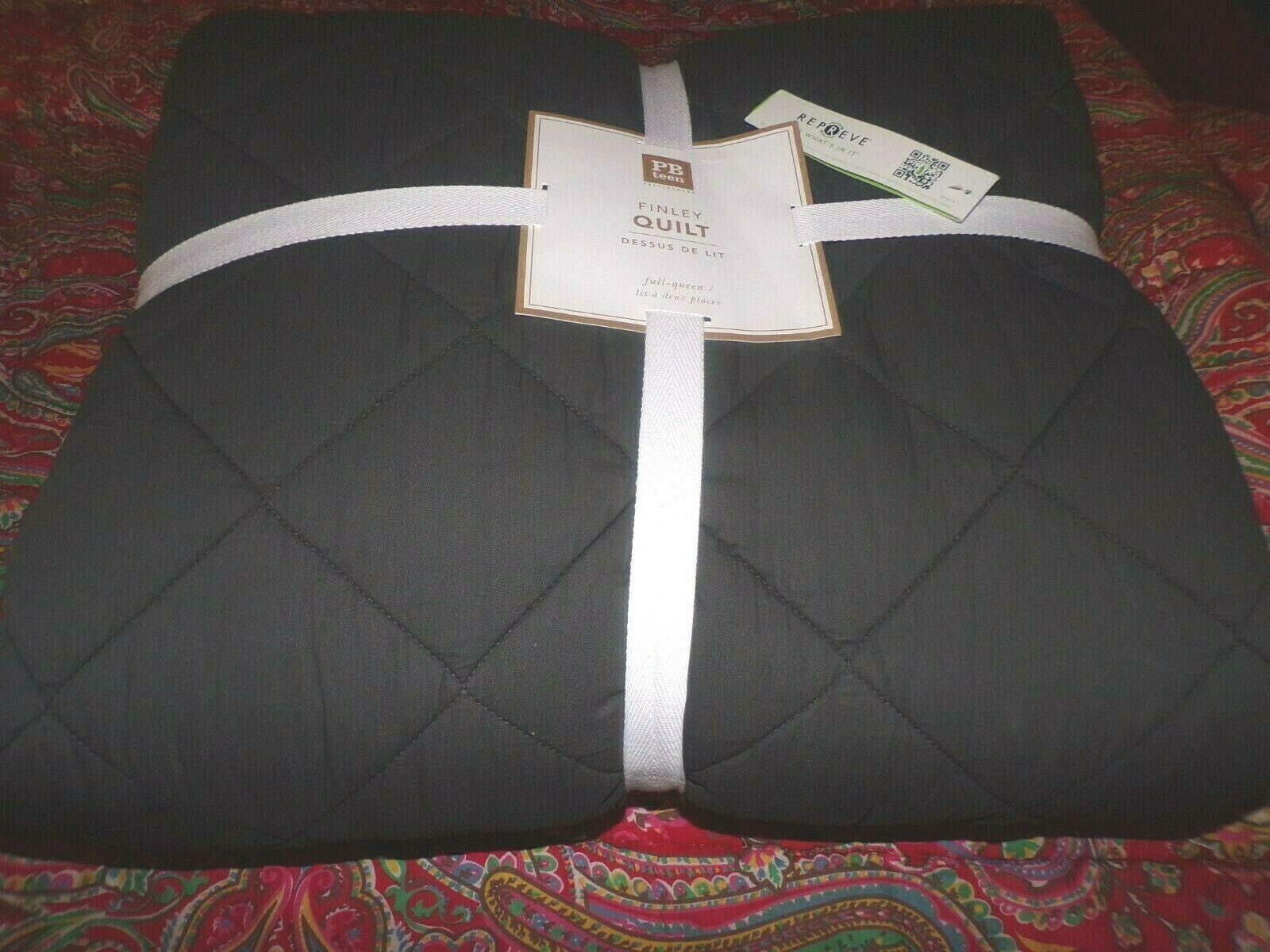POTTERY BARN Teen Finley Quilt, Complet reine, anthracite, NEUF