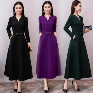 Womens Slim Full Length Long Sleeve Vneck Dress Casual Elegant Belt Bow Gown