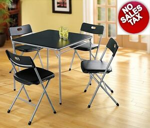 5 Pc Folding Card Table 4 Chairs Cushioned Seat Dining Living Room Set Portable