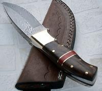 Custom Handmade Damascus Steel Knife Bushcraft Walnut Wood Handle Hunting Knives