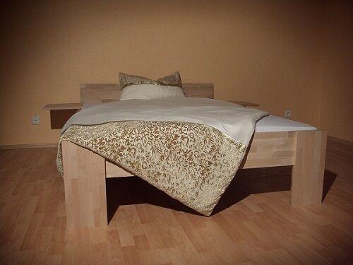 Massivholz Bett Echtholz Kernbuche 140x200 Fuß I Doppelbett Gäste Senioren 27mm