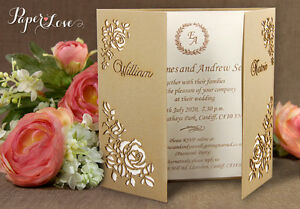Image Is Loading Wedding Invitations Personalised Day Evening Laser Cut FREE