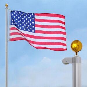 30ft Upgraded Aluminum Sectional Flag Pole Us Flag Top Ball Flagpole Kit 657258012387 Ebay