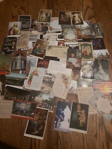 Lot-Of-50-Vintage-Religious-Postcards-old-Stamps-1900-039-s