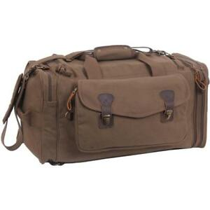 5e1d13c90394 Canvas Duffle Bag Travel Extended Stay Brown With Leather Accents Rothco  8779