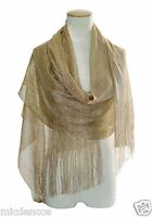 Women's Evening Wrap,shawl,glitter Metallic, Great For A Wedding Scarf W/fringe