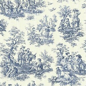 Blue Toile Set Of 4 Coasters Rubber With Fabric Top Ebay