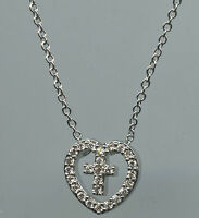 925 Sterling Silver Micro Pave Signity Cz Heart & Cross Slide Necklace