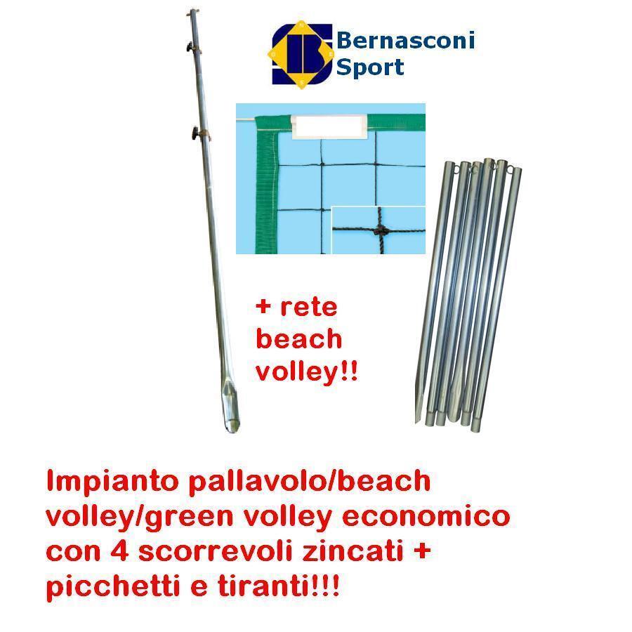 IMPIANTO PALLAVOLO BEACH VOLLEY verde VOLLEY + 4 SCORREVOLI ZINCATI E RETE