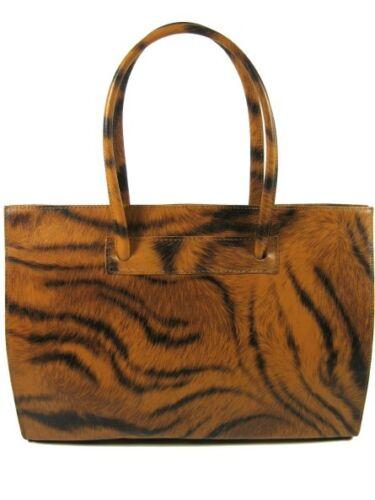 A4 Aktentasche XL Tasche Braun Tiger Animal Print GL224TB ECHT LEDER ital