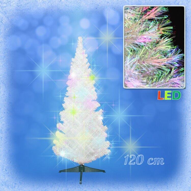 120 cm LED Weihnachtsbaum WEISS Tannenbaum farbwechselnde Glasfaser Fiberoptik