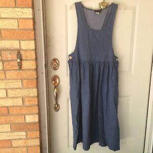 c42928723fc15 Vtg Dress Womens Medium Jumper 90s Blue Jean Denim Modest Maxi ...