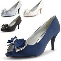 Womens Ladies Peep Toe Diamante Bow High Heel Bridal Party Evening Shoes Size UK