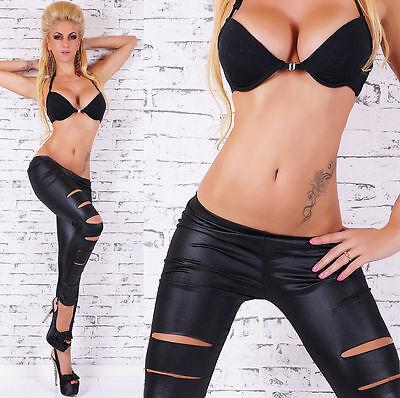 BLACK SEXY FULL LENGTH WET LOOK SLASHED RIPPED TORN LEGGINGS - NEW - UK SELLER